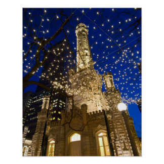 Chicago, Illinois, Old Water Tower with holiday Poster