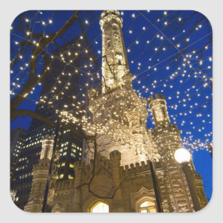 Chicago, Illinois, Old Water Tower with holiday Square Sticker