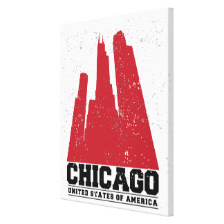 Chicago, Illinois | Red City Skyline Canvas Print