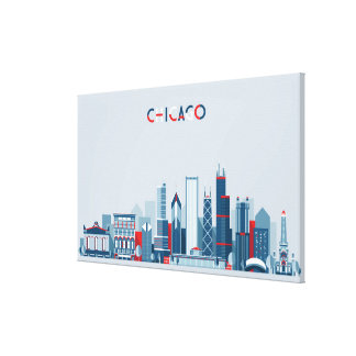 Chicago, Illinois | Red, White and Blue Skyline Canvas Print