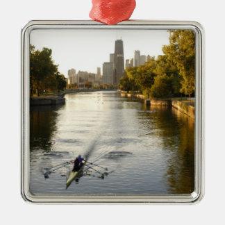 Chicago, Illinois, Rowers in Lincoln Park lagoon Christmas Ornament