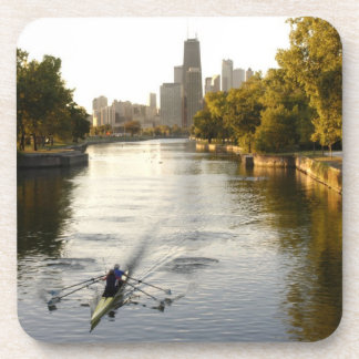 Chicago, Illinois, Rowers in Lincoln Park lagoon Drink Coaster