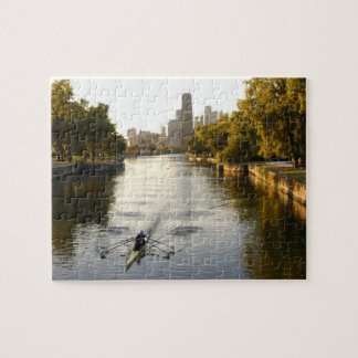 Chicago, Illinois, Rowers in Lincoln Park lagoon Jigsaw Puzzle