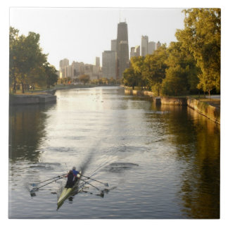Chicago, Illinois, Rowers in Lincoln Park lagoon Large Square Tile