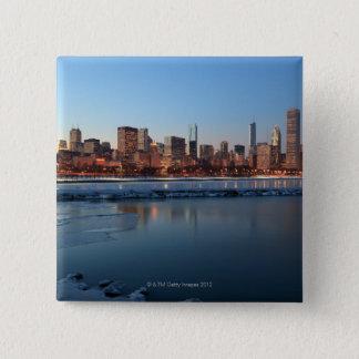 Chicago, Illinois skyline across a frozen Lake 15 Cm Square Badge