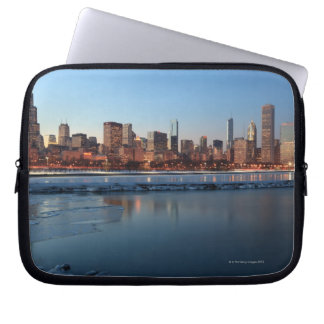 Chicago, Illinois skyline across a frozen Lake Laptop Sleeve