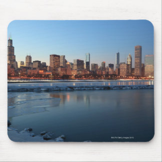 Chicago, Illinois skyline across a frozen Lake Mouse Mat