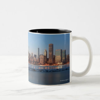 Chicago, Illinois skyline across a frozen Lake Two-Tone Coffee Mug