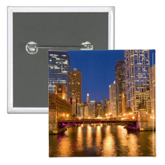 Chicago, Illinois, Skyline and Chicago River at 15 Cm Square Badge