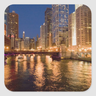 Chicago, Illinois, Skyline and Chicago River at 2 Square Sticker