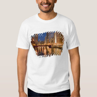 Chicago, Illinois, Skyline and Chicago River at 2 Tee Shirts