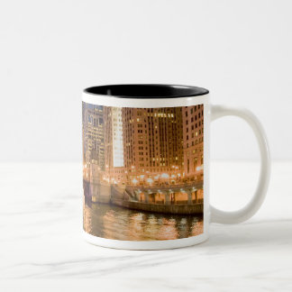 Chicago, Illinois, Skyline and Chicago River at 2 Two-Tone Coffee Mug