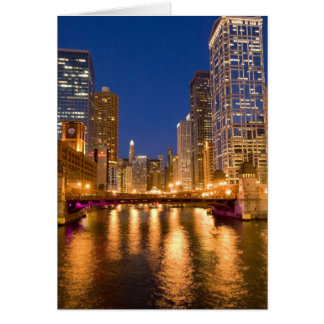 Chicago, Illinois, Skyline and Chicago River at Card