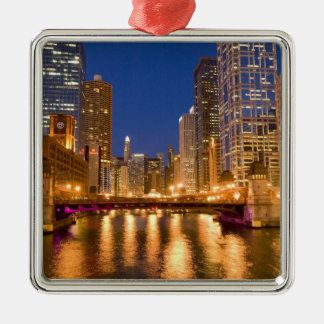 Chicago, Illinois, Skyline and Chicago River at Christmas Ornament
