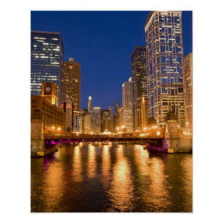 Chicago, Illinois, Skyline and Chicago River at Poster