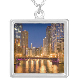 Chicago, Illinois, Skyline and Chicago River at Silver Plated Necklace