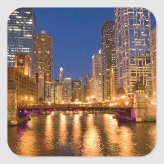 Chicago, Illinois, Skyline and Chicago River at Square Sticker