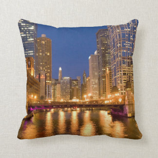 Chicago, Illinois, Skyline and Chicago River Cushion