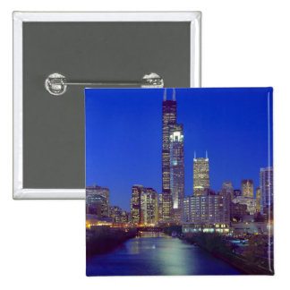 Chicago, Illinois, Skyline at night with Chicago 15 Cm Square Badge