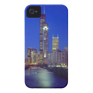 Chicago, Illinois, Skyline at night with Chicago Blackberry Cases