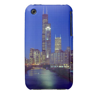 Chicago, Illinois, Skyline at night with Chicago Case-Mate iPhone 3 Case