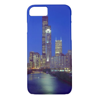 Chicago, Illinois, Skyline at night with Chicago iPhone 7 Case