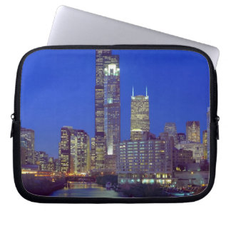 Chicago, Illinois, Skyline at night with Chicago Laptop Computer Sleeves