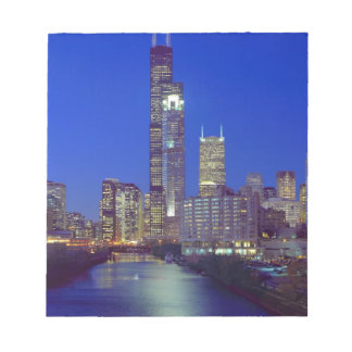 Chicago, Illinois, Skyline at night with Chicago Notepad