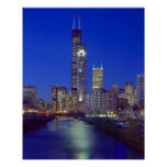 Chicago, Illinois, Skyline at night with Chicago Print