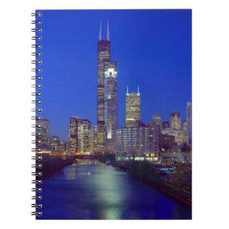 Chicago, Illinois, Skyline at night with Chicago Spiral Notebook
