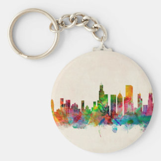 Chicago Illinois Skyline Cityscape Keychain