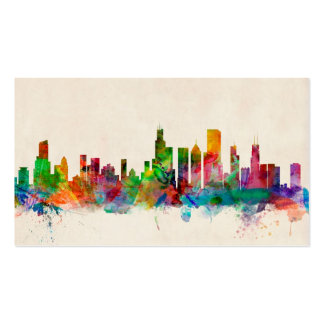 Chicago Illinois Skyline Cityscape Pack Of Standard Business Cards