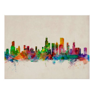 Chicago Illinois Skyline Cityscape Poster