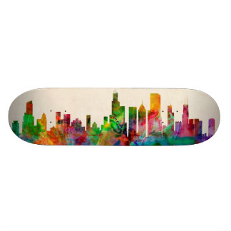 Chicago Illinois Skyline Cityscape Skateboard