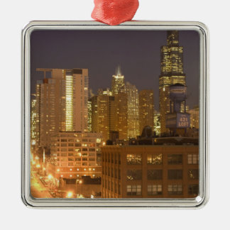 Chicago, Illinois, Skyline from West Loop at Christmas Ornament