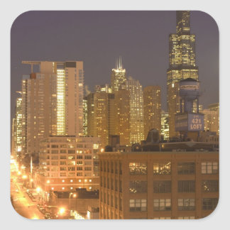Chicago, Illinois, Skyline from West Loop at Square Sticker