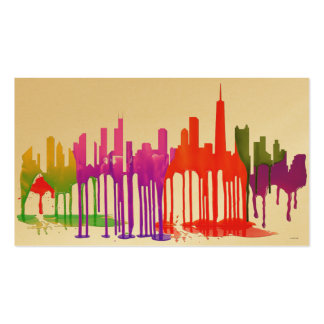 CHICAGO, ILLINOIS SKYLINE PUDDLES - PACK OF STANDARD BUSINESS CARDS