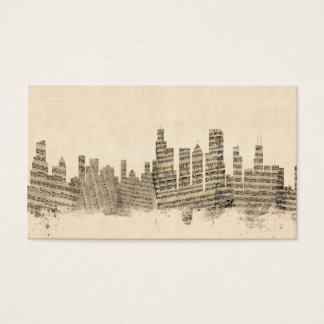 Chicago Illinois Skyline Sheet Music Cityscape Business Card
