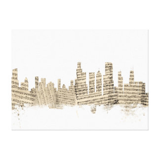 Chicago Illinois Skyline Sheet Music Cityscape Canvas Print