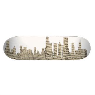 Chicago Illinois Skyline Sheet Music Cityscape Custom Skateboard
