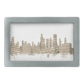 Chicago Illinois Skyline Sheet Music Cityscape Rectangular Belt Buckles