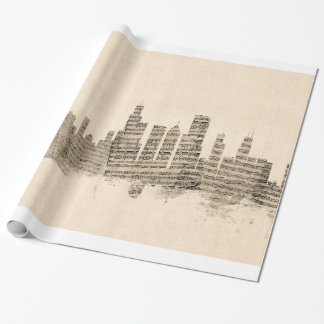 Chicago Illinois Skyline Sheet Music Cityscape Wrapping Paper