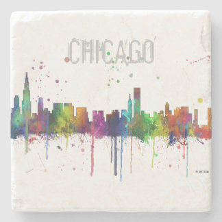 CHICAGO, ILLINOIS SKYLINE STONE COASTER