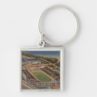 Chicago, Illinois - Soldiers Field and Field Silver-Colored Square Key Ring