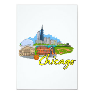 Chicago - Illinois - United States of America.png 13 Cm X 18 Cm Invitation Card