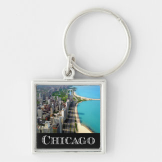 Chicago Illinois USA - Chicago Skyline Silver-Colored Square Key Ring