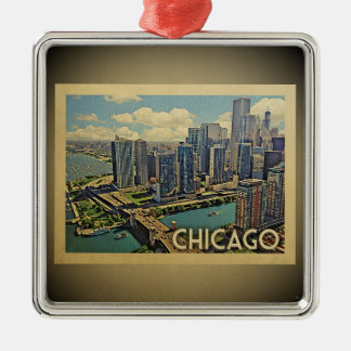Chicago Illinois Vintage Travel Ornament