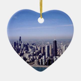 Chicago Illinois Windy City Park Buildings Destiny Ceramic Heart Decoration