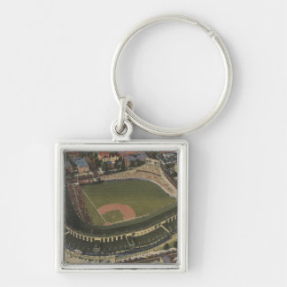 Chicago, Illinois - Wrigley Field Cubs Silver-Colored Square Key Ring