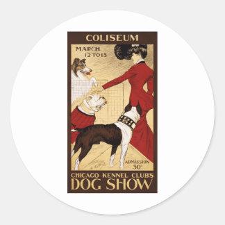 Chicago Kennel Club's Dog Show, Advertising Poster Round Sticker